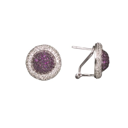 Ruby Rhodium Plated Sterling Silver Earrings
