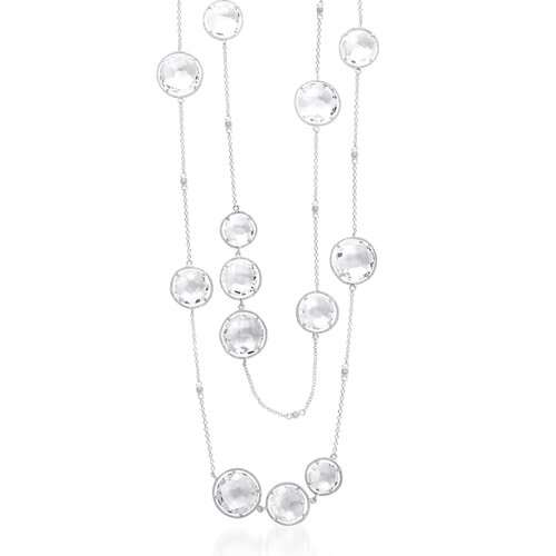"""Rozzato 32"""" Round Filled Rhodium Plated Necklace"""
