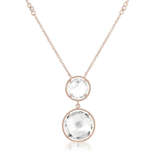 Double Round Drop Rose-Gold Plated Chain Necklace
