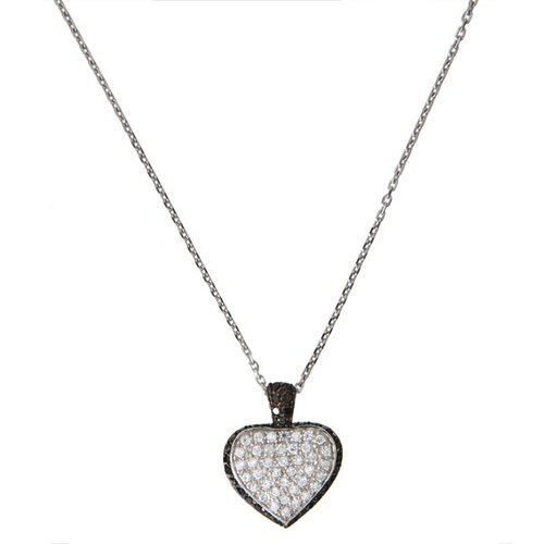 Rozzato Rhodium Heart With Black Outline Pendant