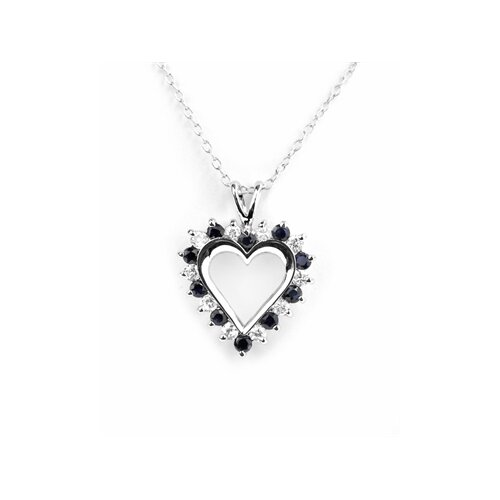 Petra's Onyx Rhodium Plated Heart Pendant in Black