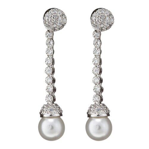 Rozzato Cubic Zirconia Dangling Pearl Earrings