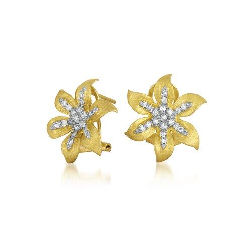 Rozzato Vermeil Flower Cubic Zirconia Earrings