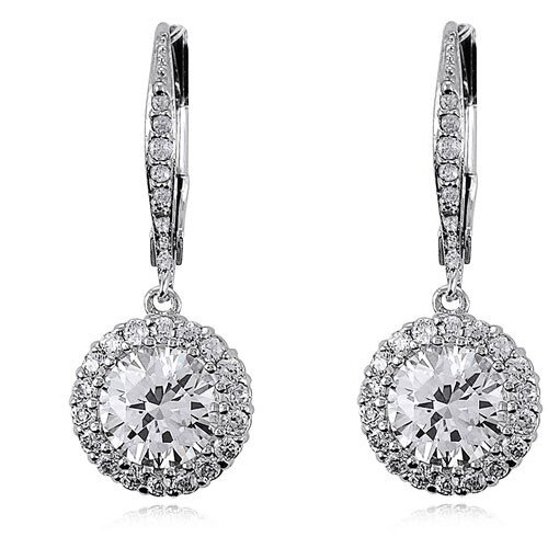 Rozzato Round Cubic Zirconia Drop Dangle Earrings