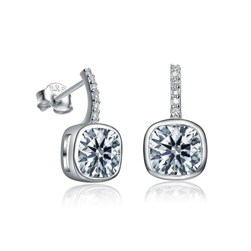 Rozzato Square Cubic Zirconia Drop Earrings