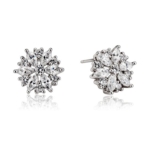 Round Cubic Zirconia Art Deco Earrings