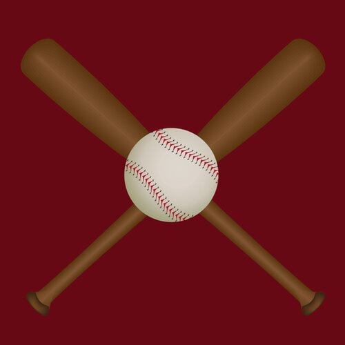 Secretly Designed Baseball Bats and Ball Wall Decal