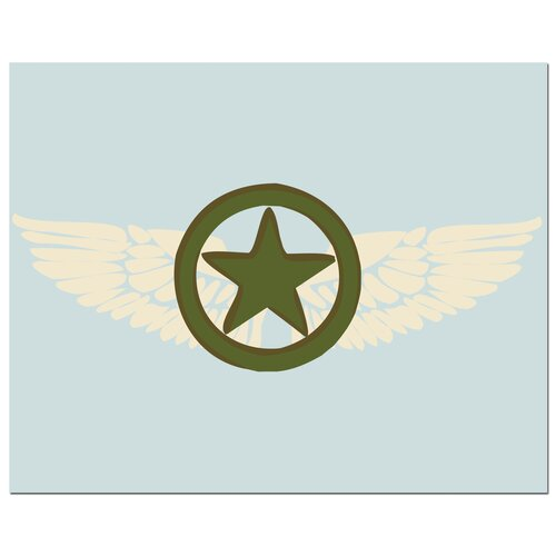 Secretly Designed Pilot Wings with Star Canvas Art