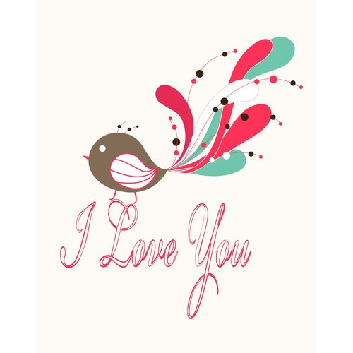 Secretly Designed I Love You Bird Paper Print