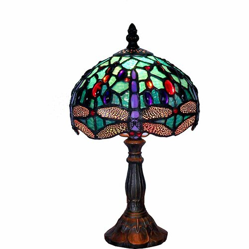 "Warehouse of Tiffany Tiffany-Style Dragonfly 12"" H Table Lamp with Bowl Shade"