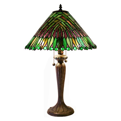 """Warehouse of Tiffany Leaves Cone 25.5"""" H Table Lamp with Empire Shade"""
