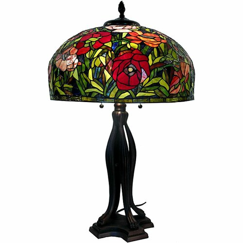 "Warehouse of Tiffany Rose 32"" H Table Lamp with Bowl Shade"