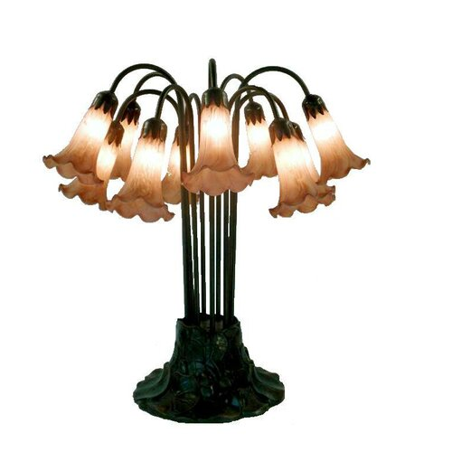 "Warehouse of Tiffany Lily 22"" H Table Lamp with Bell Shade"