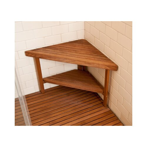 Teakworks4u Deluxe Teak Corner Shower Bench with Optional Shelf