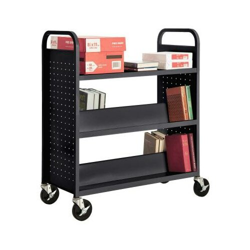 Sandusky Cabinets Mobile Book Truck with 1 Flat Bottom Shelf and 4 Sloped Top Shelves