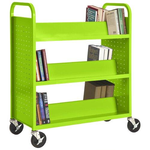 Sandusky Cabinets Double Sided Sloped Shelf Mobile Booktruck