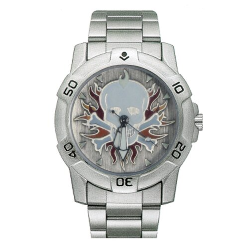 RAM Instrument Chrome Biker Watch with Skull and Flames Emboss