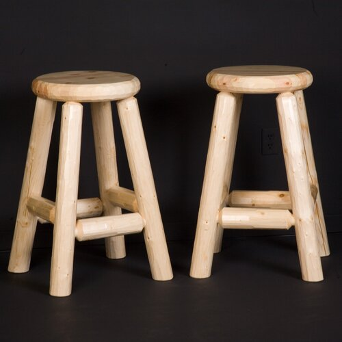 Northwoods Billiards Log Pub Bar Stool
