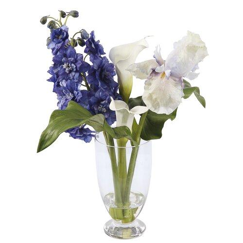 Glass Vase with Deliphinium/Iris/Calla Lily