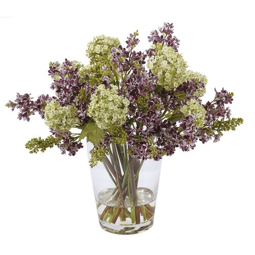 Large Glass Vase with Purple and Green Lilacs