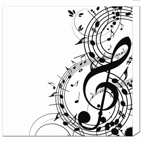 Musical Notes Graphic Art on Canvas