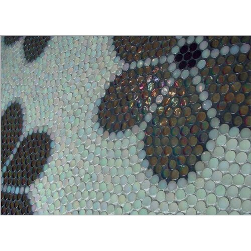 "Epoch Architectural Surfaces Alpinez Aspen 12"" x 12"" Penny Round Milk Glass Mosaic in White Iridescent"