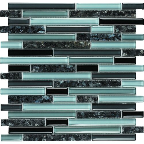 Epoch Architectural Surfaces Spectrum Blue Pearl Random Sized Stone and Glass Blend Mosaic in Multi