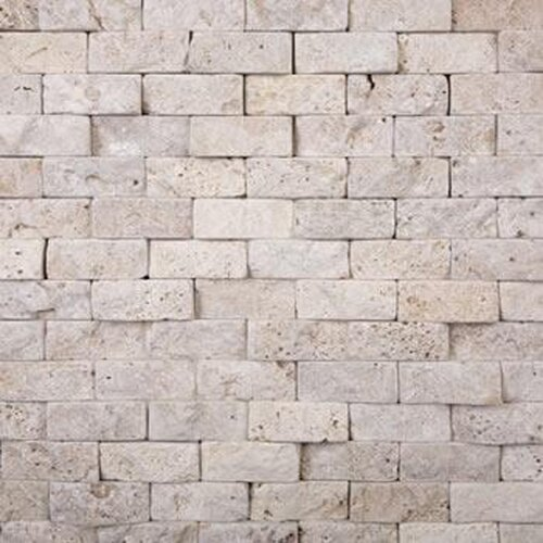 "Epoch Architectural Surfaces 4"" x 2"" Splitface Travertine Mosaic in Beige"