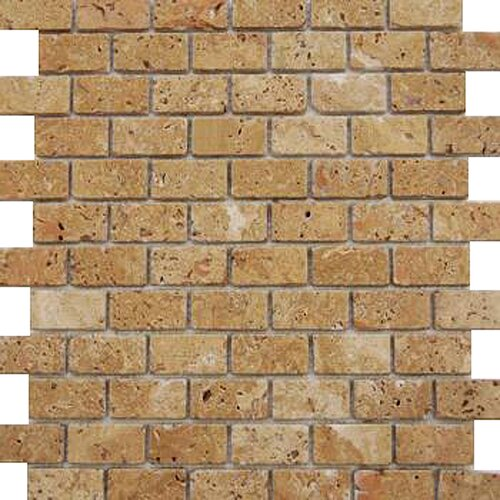 "Epoch Architectural Surfaces Noce 2"" x 1"" Tumbled Travertine Mosaic in Brown"