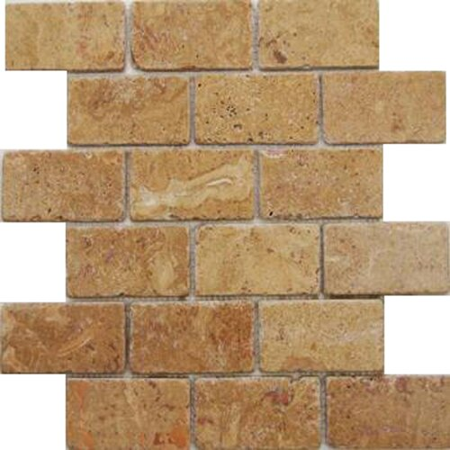 "Epoch Architectural Surfaces Noce 4"" x 2"" Tumbled Travertine Mosaic in Brown"