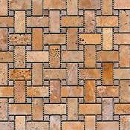 Noce Random Sized Tumbled Travertine Basketweave Mosaic in Brown