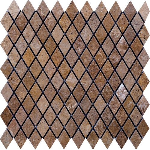 Noce Tumbled Travertine Diamond Mosaic in Brown
