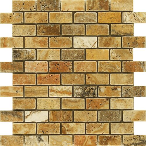 "Epoch Architectural Surfaces Scabos 4"" x 2"" Tumbled Travertine Mosaic in Multi"