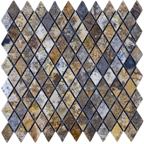 """Epoch Architectural Surfaces Scabos 12"""" x 12"""" Tumbled Travertine Diamond Mosaic in Multi"""