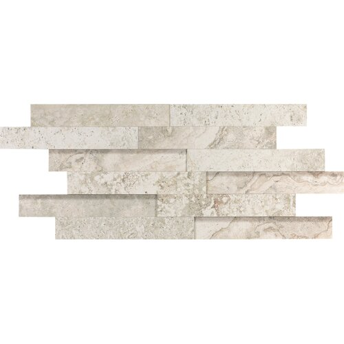 "Epoch Architectural Surfaces 12"" x 2"" Porcelain Listello in Gray Travertine"