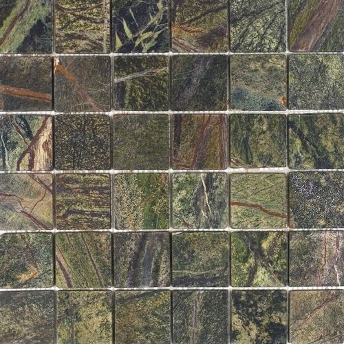 "Epoch Architectural Surfaces 2"" x 2"" Tumbled Marble Mosaic in Rain Forest Green"