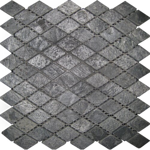"Epoch Architectural Surfaces 12"" x 12"" Tumbled Slate Diamond Mosaic in Ostrich Grey"