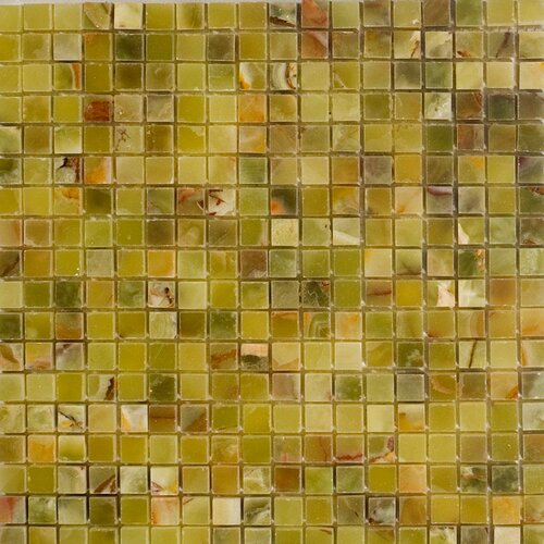 """Epoch Architectural Surfaces 5/8"""" x 5/8"""" Polished Onyx Mosaic in Verde"""