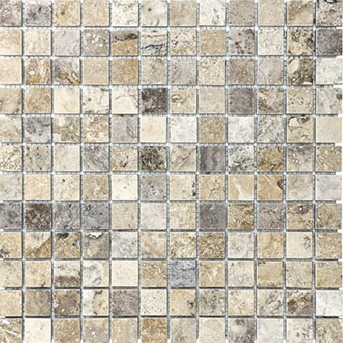 "Epoch Architectural Surfaces 1"" x 1"" Tumbled Travertine Mosaic in Silver"