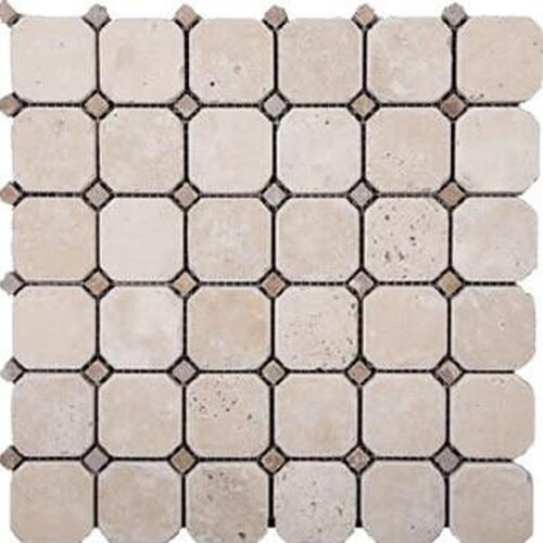 Random Sized Honed Travertine Hexagon Mosaic in Ivory