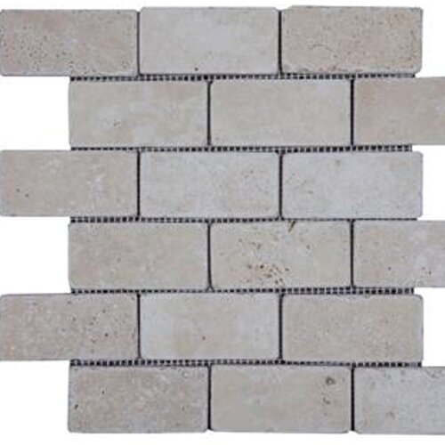 "Epoch Architectural Surfaces 4"" x 2"" Tumbled Travertine Mosaic in Beige"