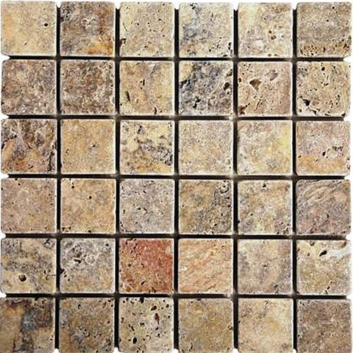 "Epoch Architectural Surfaces Scabos 2"" x 2"" Tumbled Travertine Mosaic in Multi"