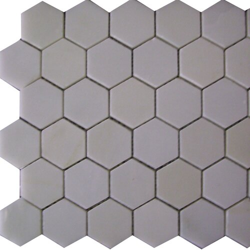 "Epoch Architectural Surfaces Thassos 2"" x 2"" Hexagon Polished Marble Mosaic in White"