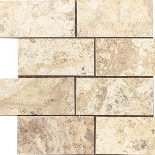 Epoch Architectural Surfaces Porcelain Subway Mosaic in Beige Travertine
