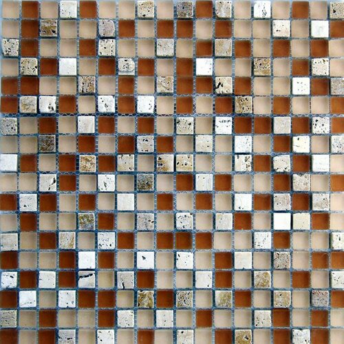 "Epoch Architectural Surfaces Desertz Rangipo 5/8"" x 5/8"" Stone and Glass Blend Matte Mosaic in Beige Multi"