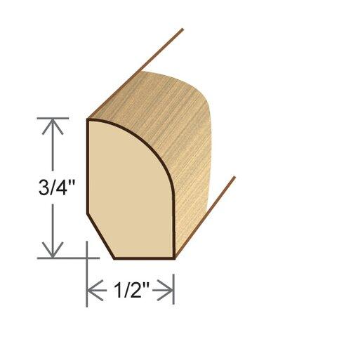 "Moldings Online 0.5"" x 0.75"" Solid Hardwood White Oak Base Shoe in Unfinished"