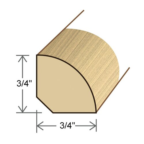 "Moldings Online 0.75"" x 0.75"" Solid Hardwood Eucalyptus Quarter Round in Unfinished"