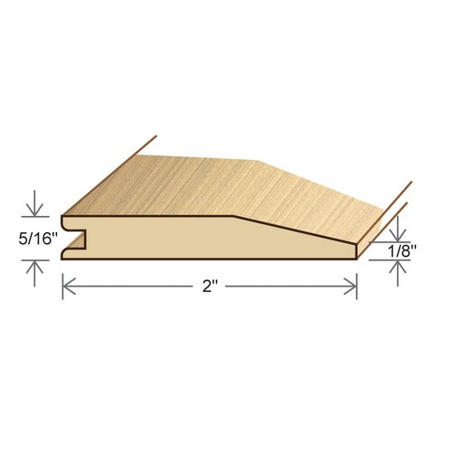 """Moldings Online 0.5"""" x 2"""" Solid Hardwood Birch Reducer in Unfinished"""