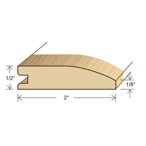 "Moldings Online 0.5"" x 2"" Solid Hardwood Pecan Reducer in Unfinished"