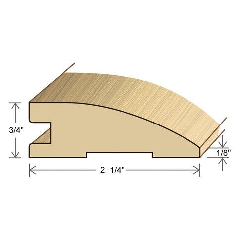 """Moldings Online 0.75"""" x 2.26"""" Solid Hardwood Santos Mahogany Reducer in Unfinished"""